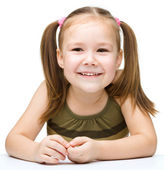Little girl with red apple — Stock Photo