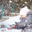 Little girl is throwing snow — Stock Photo