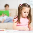 Little girl is playing with plasticine — Stock Photo #21742751