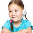Young girl is working as an operator at helpline — Stock Photo #21961449
