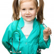 Cute little girl is playing doctor — Stock Photo