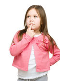 Little girl is thinking about something — Stock Photo