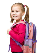 Portrait of a cute little schoolgirl with backpack — Stock Photo