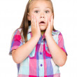 Little girl is holding her face in astonishment — Stock Photo #26003619