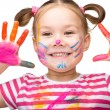 Portrait of a cute girl playing with paints — Stock Photo #26059587