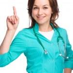 Portrait of a woman wearing doctor uniform — Stock Photo