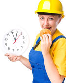 Young construction worker is going to lunch — Stock Photo