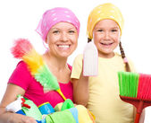 Mother and her daughter are dressed for cleaning — Stock Photo