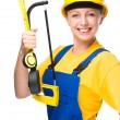 Young construction worker with hacksaw — Stock Photo #29619601