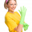 Young woman as a cleaning maid — Stockfoto