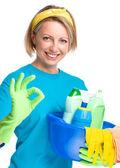 молодая женщина как очистки горничная — Стоковое фото