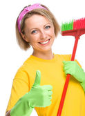 Young woman as a cleaning maid — Foto de Stock