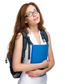 Ragazza giovane studente è in possesso di libro — Foto Stock