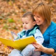 Mother is reading from tablet with her son — Stock Photo #35876251