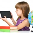 Young girl is showing tablet — Stock Photo