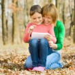 Mother and her daughter is playing with tablet — Stock Photo #36473343