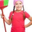 Young girl is dressed as a cleaning maid — Stock Photo