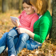 Mother and her daughter is playing with tablet — Stock Photo #37204677