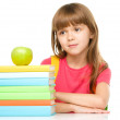 Stock Photo: Little girl with her books