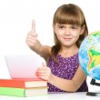 Little girl is using tablet — Stock Photo #38526187