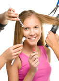 Makeover process of a young teen girl — Stock Photo