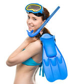 Young happy woman with snorkel equipment — Foto Stock