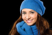 Young happy woman wearing winter cloth — Stock Photo