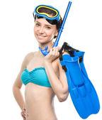 Jonge gelukkig vrouw met snorkel uitrusting — Stockfoto
