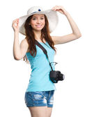 Young woman wearing summer hat — Stock Photo