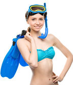 Young happy woman with snorkel equipment — Zdjęcie stockowe