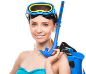 Young happy woman with snorkel equipment — Stock Photo