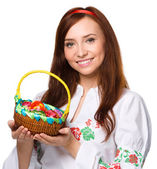 Young woman in ukrainian national cloth — Stock Photo