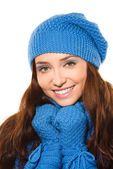 Young happy woman wearing winter cloth — Foto Stock