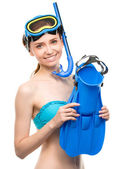 Young happy woman with snorkel equipment — Stockfoto