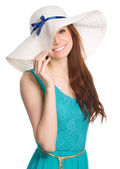 Pretty woman wearing summer hat — Stock Photo