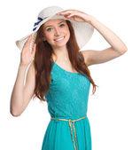 Pretty woman wearing summer hat — Stock Photo