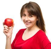 アップルと幸せな少女 — ストック写真
