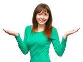 Portrait of a young woman raised her hands up — Stock Photo