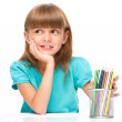Little girl with color pencils — Stock Photo #49444537