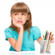 Little girl with color pencils — Stock Photo #50405865