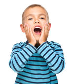 Portrait of an astonished little boy — Stock Photo