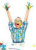 Little girl is rising her hands up in joy — Stockfoto