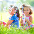 Two little girls are blowing soap bubbles — Stock Photo #51413815