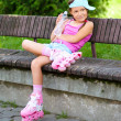 Little girl is wearing roller-blades — Stock Photo #51466397