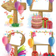 Birthday wooden sign - Stok Vektr