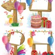 Birthday wooden sign - Stockvektor
