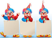 Clown with blank paper in different moods — Stockvektor