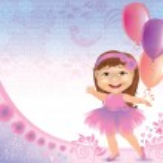 Glamorous birthday background with little girl — Stock Vector