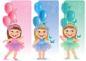 Beautiful banner with cute little girl — Vector de stock