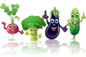 Funny vegetables, radishes, broccoli, eggplant, cucumber — Stock Vector